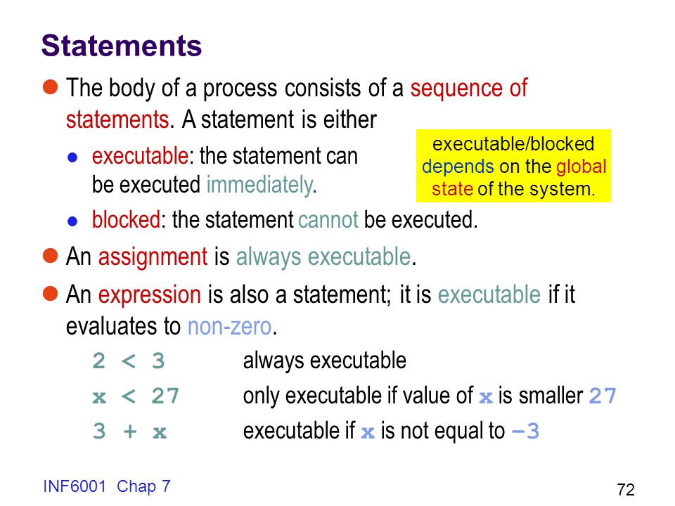 Statements The body of a process consists of a sequence of statements. A statement is either.