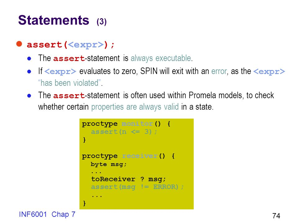 Statements (3) assert(<expr>);