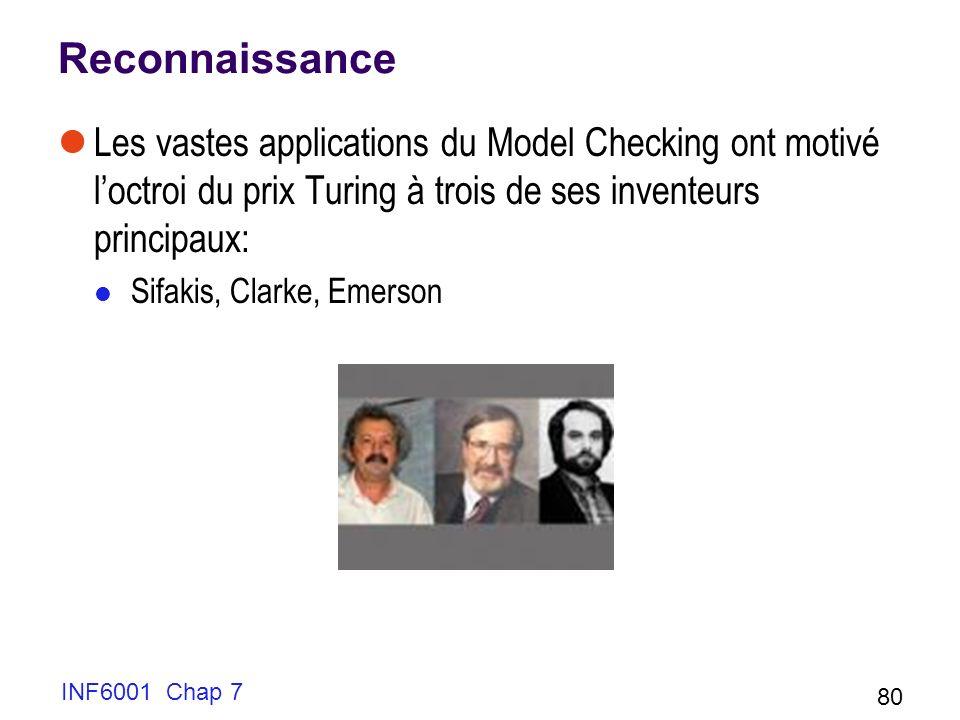 Reconnaissance Les vastes applications du Model Checking ont motivé l'octroi du prix Turing à trois de ses inventeurs principaux: