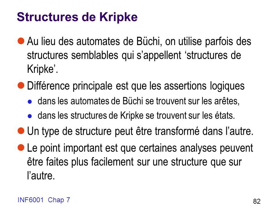 Structures de Kripke Au lieu des automates de Büchi, on utilise parfois des structures semblables qui s'appellent 'structures de Kripke'.