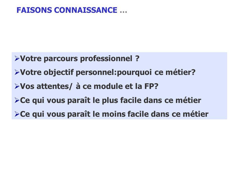 FAISONS CONNAISSANCE …