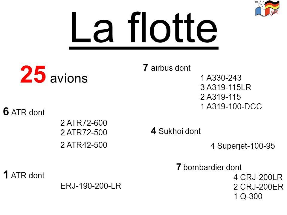 La flotte 25 avions 6 ATR dont 1 ATR dont 7 airbus dont 4 Sukhoi dont
