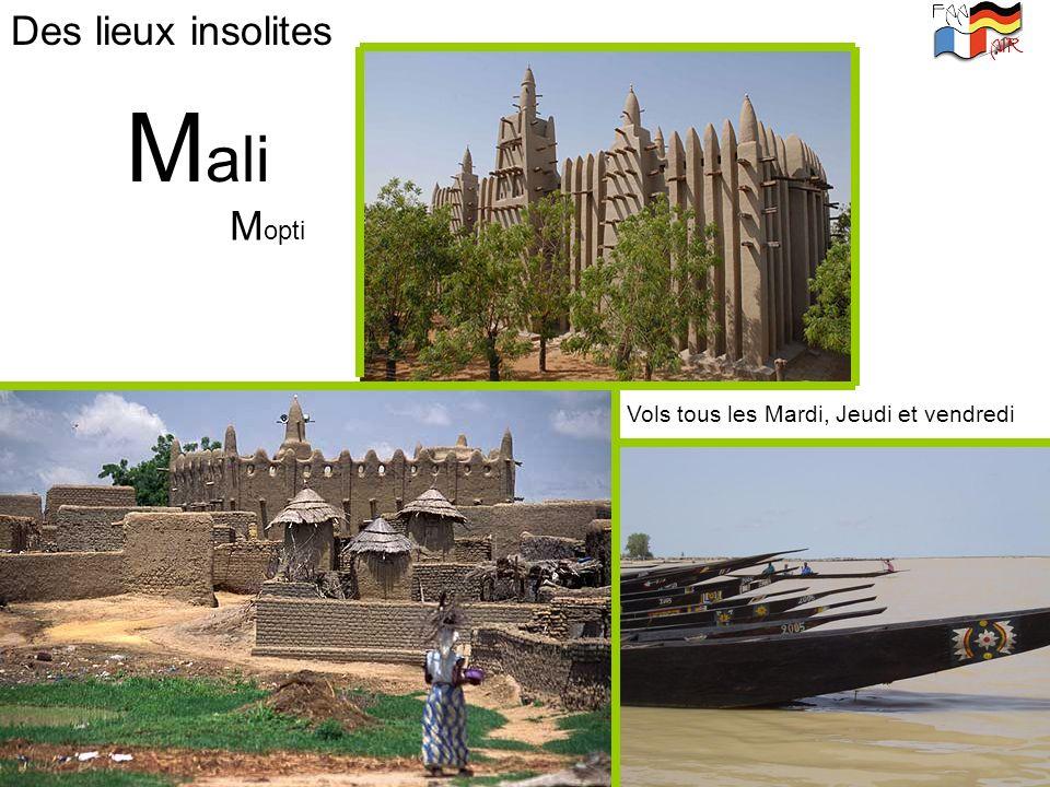 Des lieux insolites Mali Mopti Vols tous les Mardi, Jeudi et vendredi