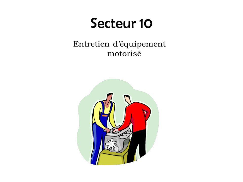 Entretien d'équipement motorisé