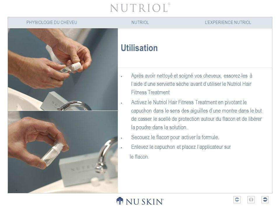 Utilisation Après avoir nettoyé et soigné vos cheveux, essorez-les à l'aide d'une serviette sèche avant d'utiliser le Nutriol Hair Fitness Treatment.