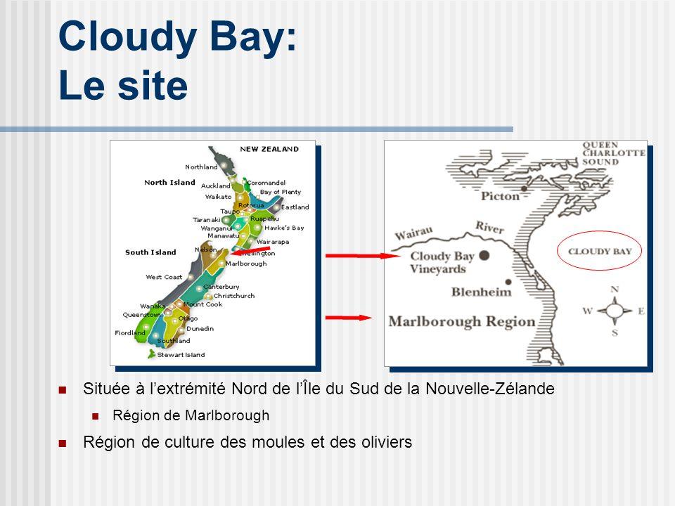 Cloudy Bay: Le site Située à l'extrémité Nord de l'Île du Sud de la Nouvelle-Zélande. Région de Marlborough.