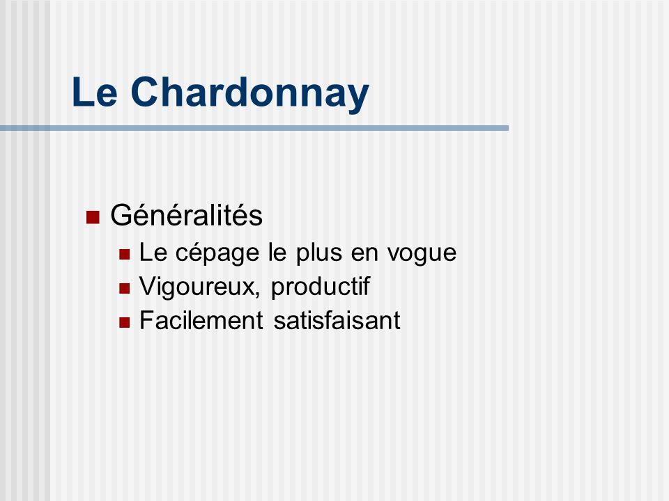 Le Chardonnay Généralités Le cépage le plus en vogue