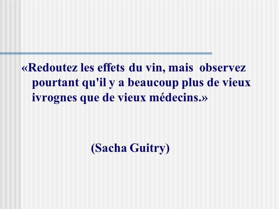 «Redoutez les effets du vin, mais observez pourtant qu il y a beaucoup plus de vieux ivrognes que de vieux médecins.»