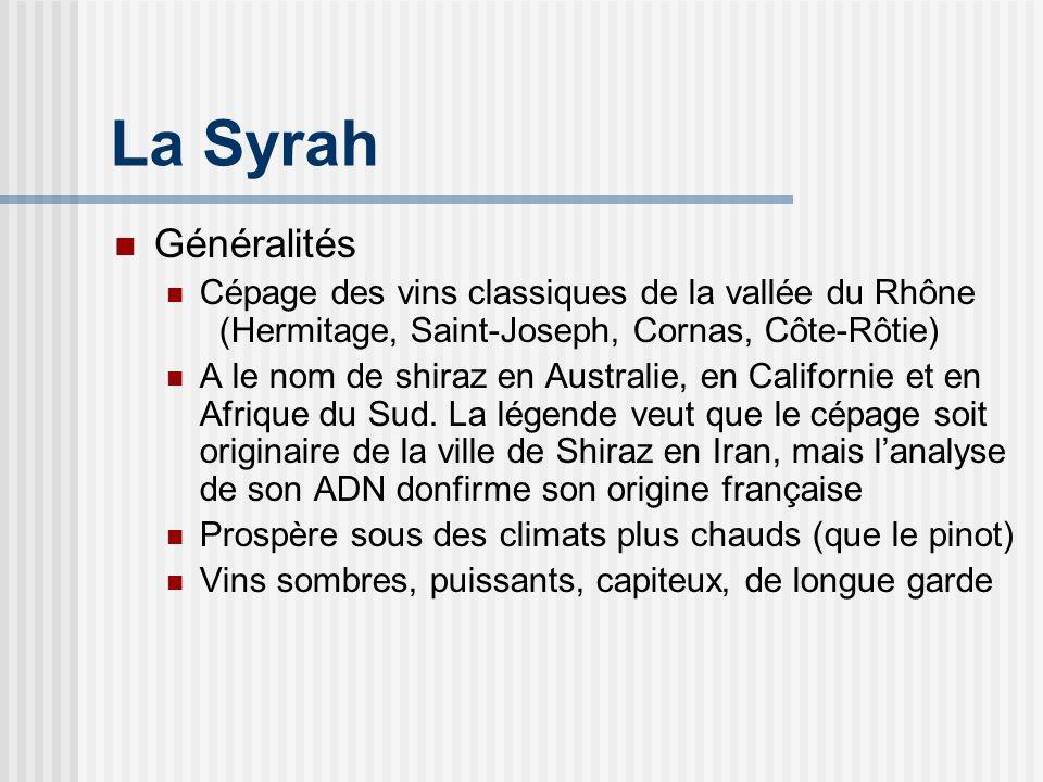 La Syrah Généralités. Cépage des vins classiques de la vallée du Rhône (Hermitage, Saint-Joseph, Cornas, Côte-Rôtie)