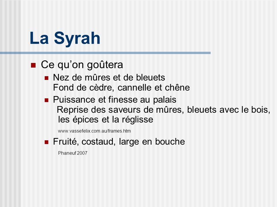 La Syrah Ce qu'on goûtera