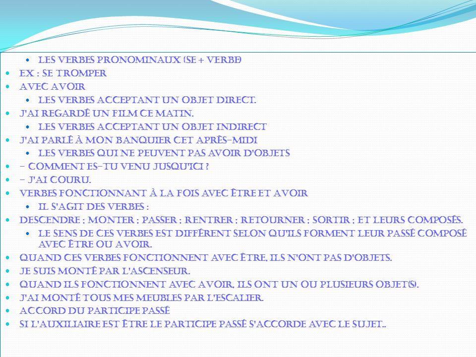Les verbes pronominaux (se + verbe)