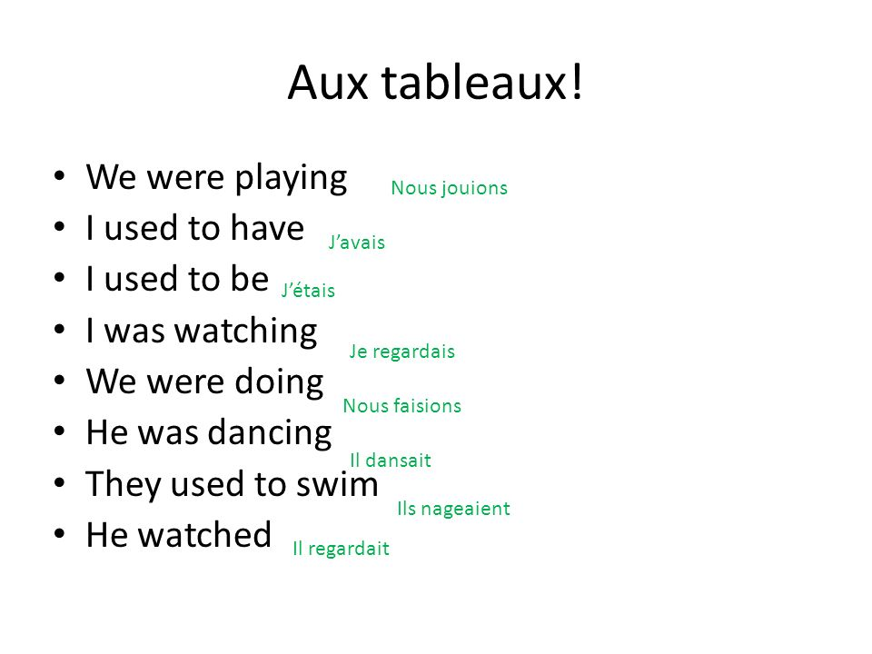 Aux tableaux! We were playing I used to have I used to be