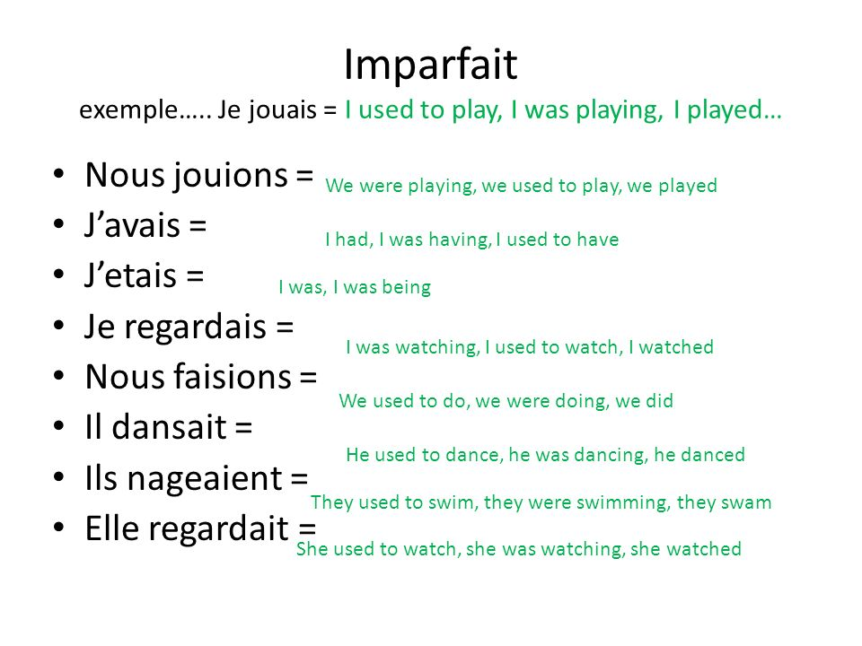 Imparfait exemple….. Je jouais = I used to play, I was playing, I played…