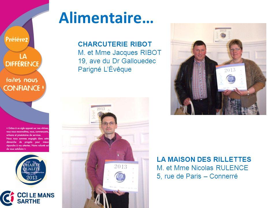 Alimentaire… CHARCUTERIE RIBOT M. et Mme Jacques RIBOT 19, ave du Dr Gallouedec. Parigné L'Évêque.