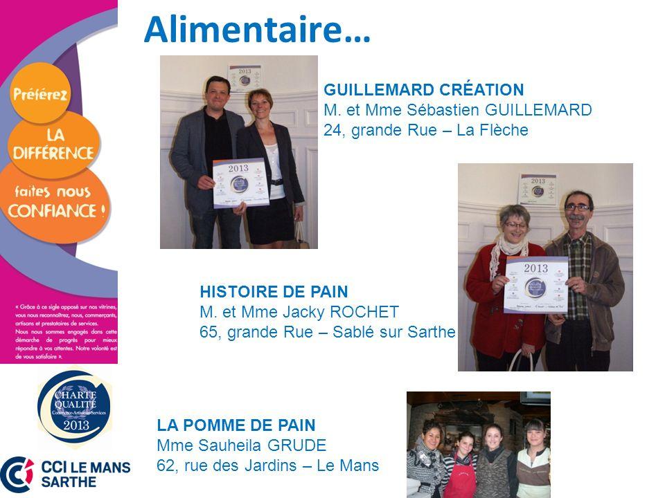Alimentaire… GUILLEMARD CRÉATION M. et Mme Sébastien GUILLEMARD 24, grande Rue – La Flèche.