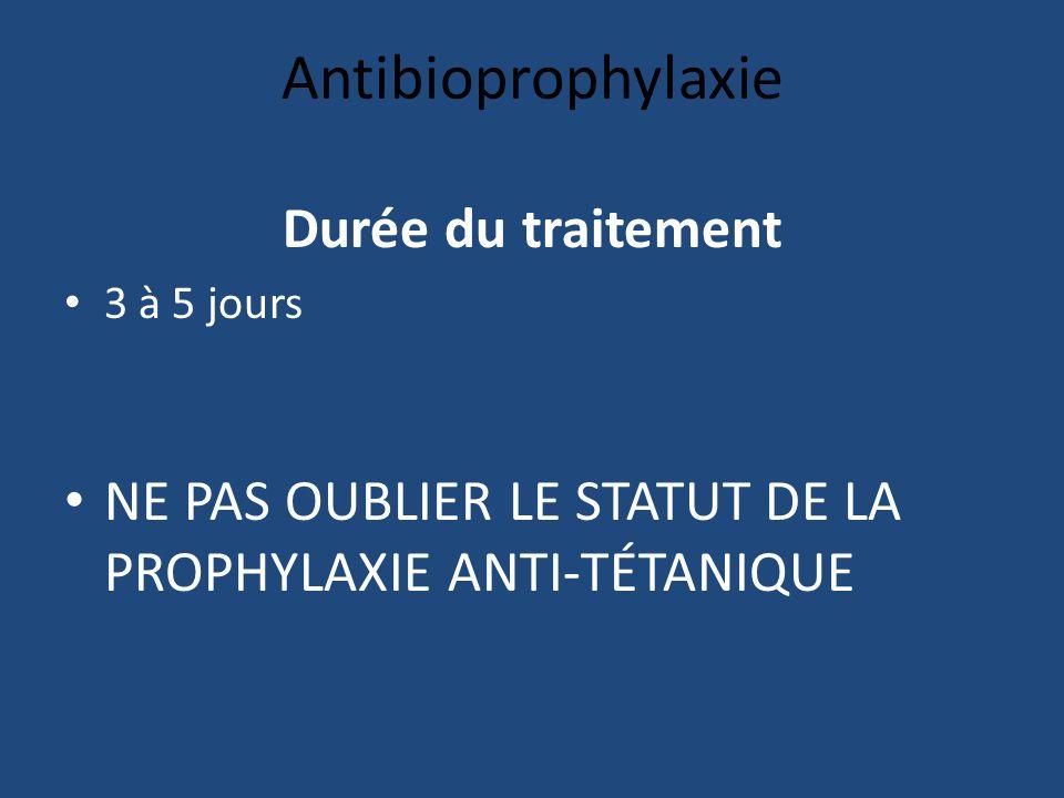 Antibioprophylaxie Durée du traitement