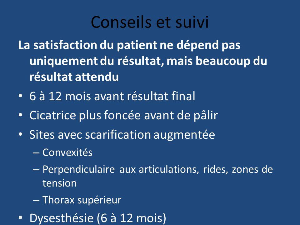 Conseils et suivi La satisfaction du patient ne dépend pas uniquement du résultat, mais beaucoup du résultat attendu.