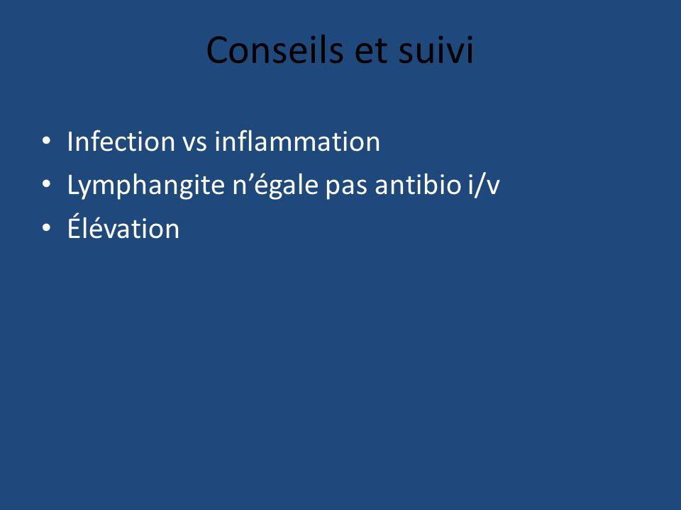 Conseils et suivi Infection vs inflammation