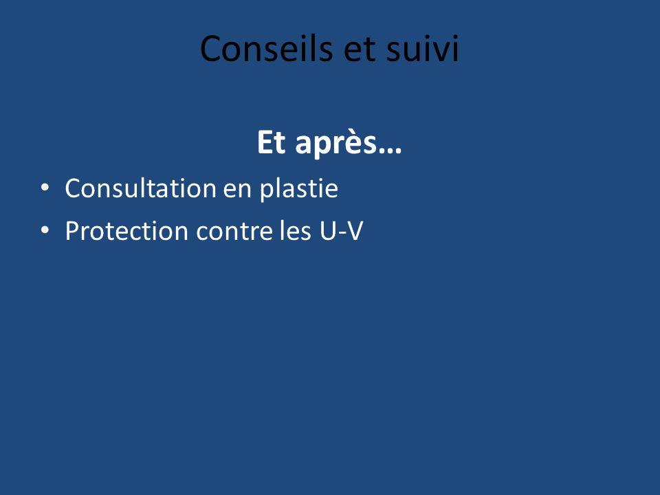 Conseils et suivi Et après… Consultation en plastie