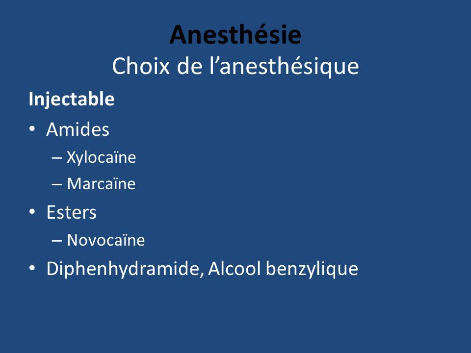 Choix de l'anesthésique