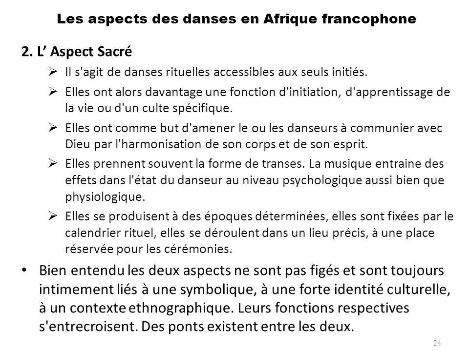 Les aspects des danses en Afrique francophone