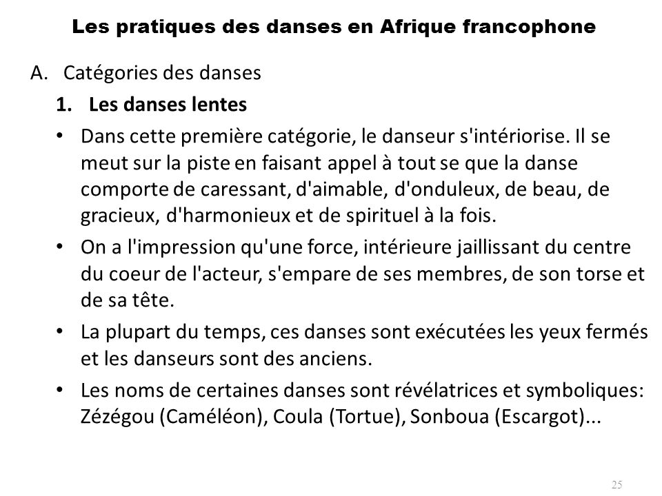 Les pratiques des danses en Afrique francophone