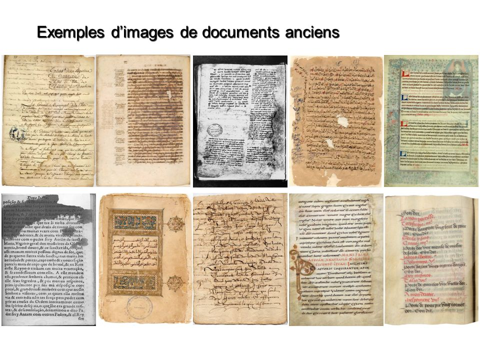 Exemples d'images de documents anciens