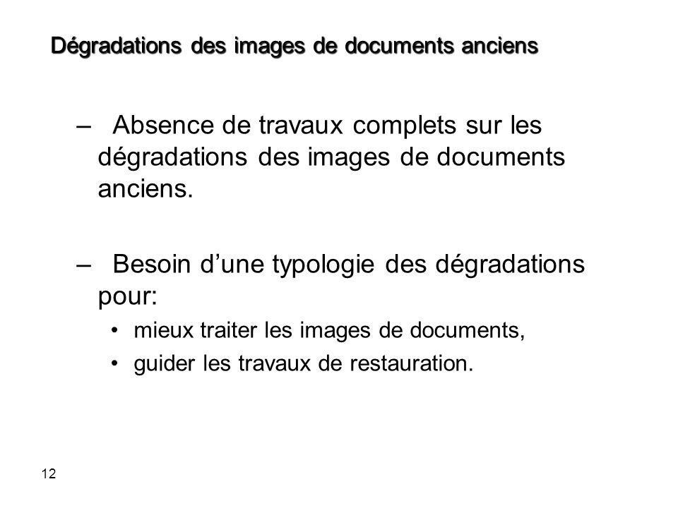 Dégradations des images de documents anciens