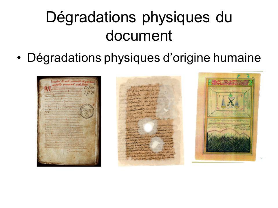 Dégradations physiques du document
