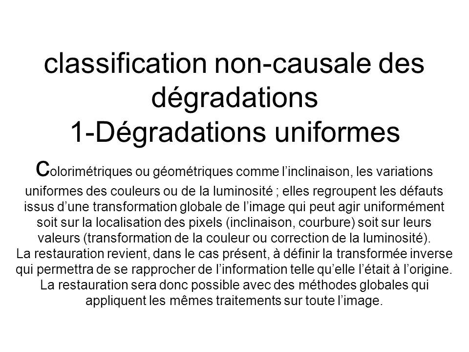 classification non-causale des dégradations 1-Dégradations uniformes colorimétriques ou géométriques comme l'inclinaison, les variations uniformes des couleurs ou de la luminosité ; elles regroupent les défauts issus d'une transformation globale de l'image qui peut agir uniformément soit sur la localisation des pixels (inclinaison, courbure) soit sur leurs valeurs (transformation de la couleur ou correction de la luminosité).