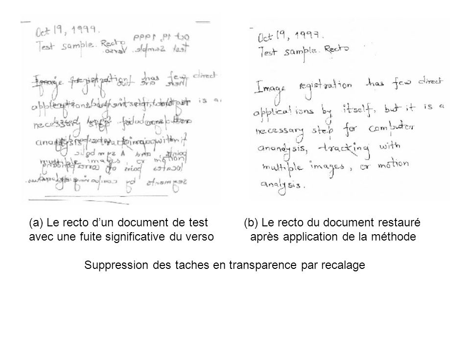 Le recto d'un document de test (b) Le recto du document restauré