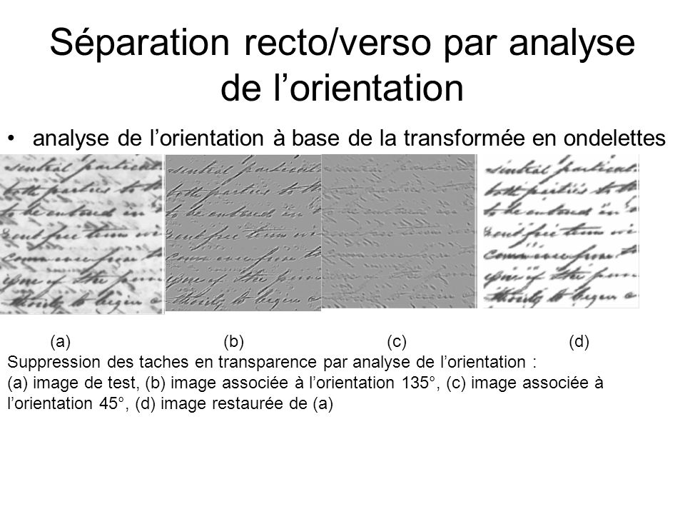 Séparation recto/verso par analyse de l'orientation