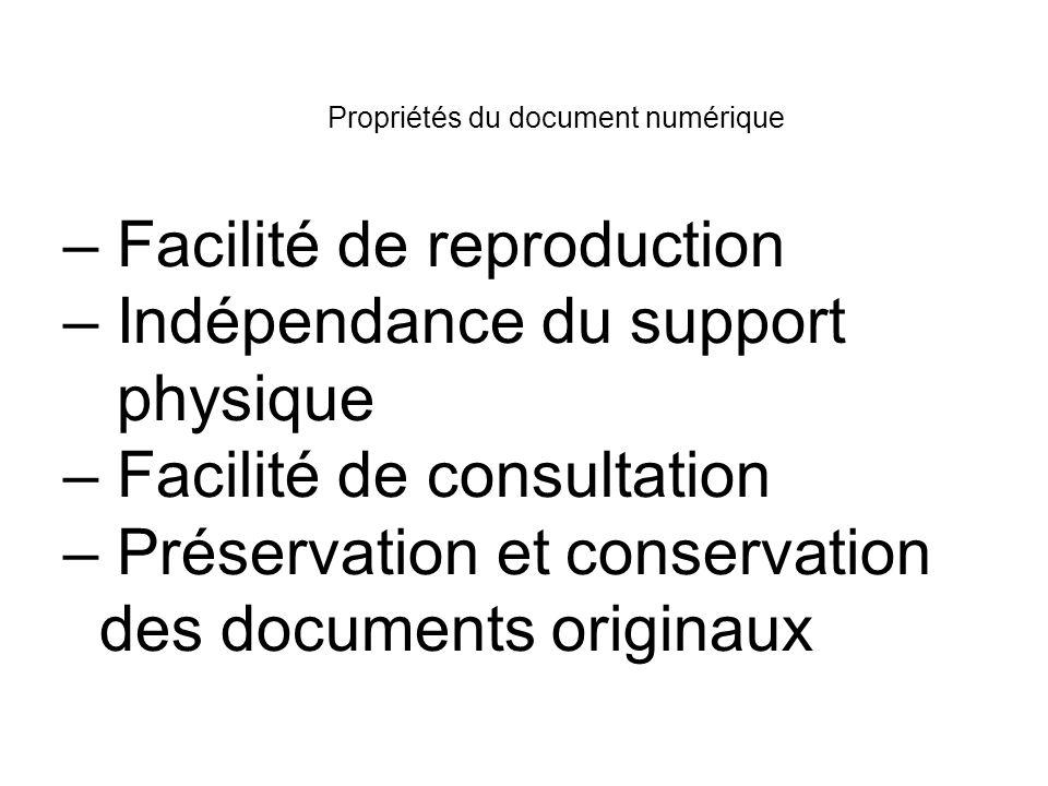 Propriétés du document numérique – Facilité de reproduction – Indépendance du support physique – Facilité de consultation – Préservation et conservation des documents originaux