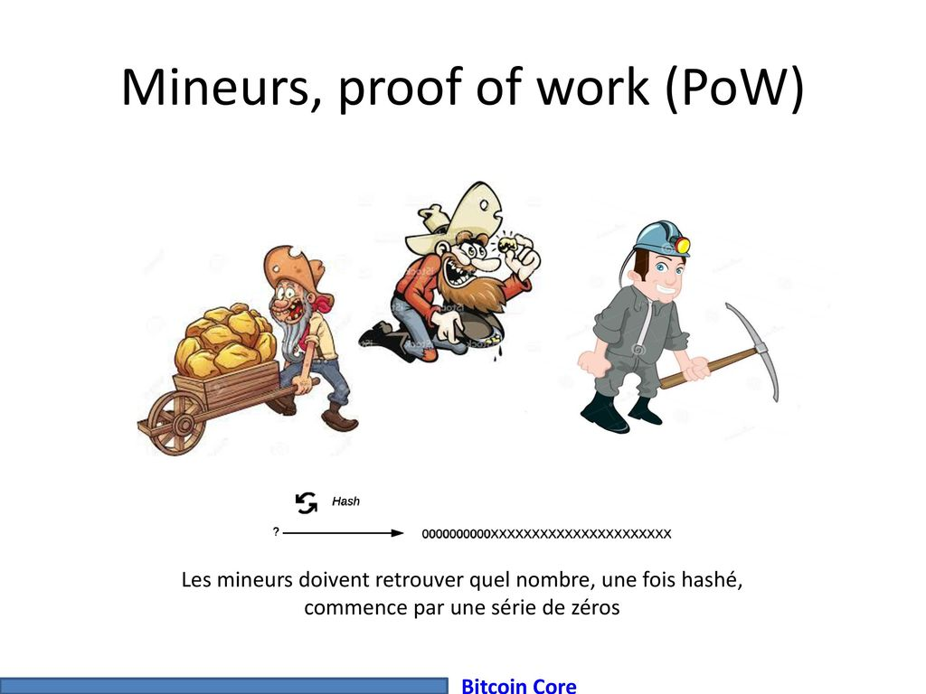 Mineurs, proof of work (PoW)