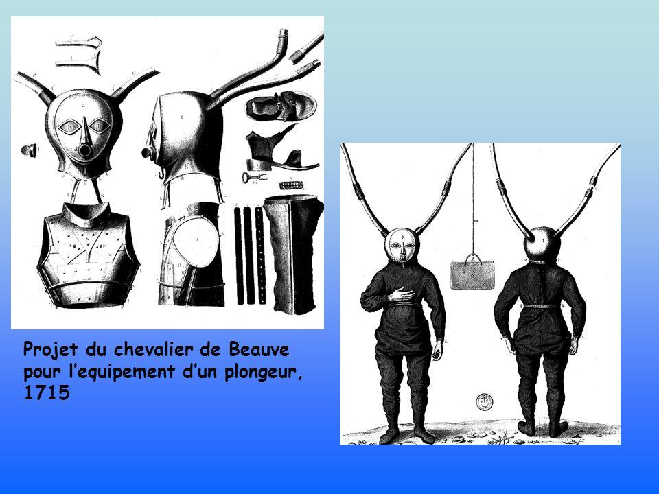 Projet du chevalier de Beauve pour l'equipement d'un plongeur, 1715