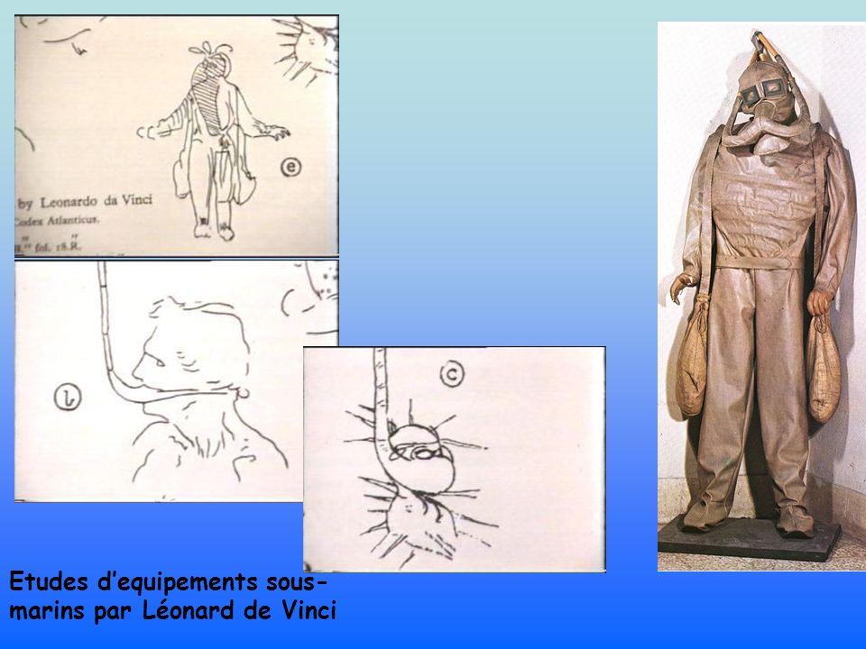 Etudes d'equipements sous-marins par Léonard de Vinci