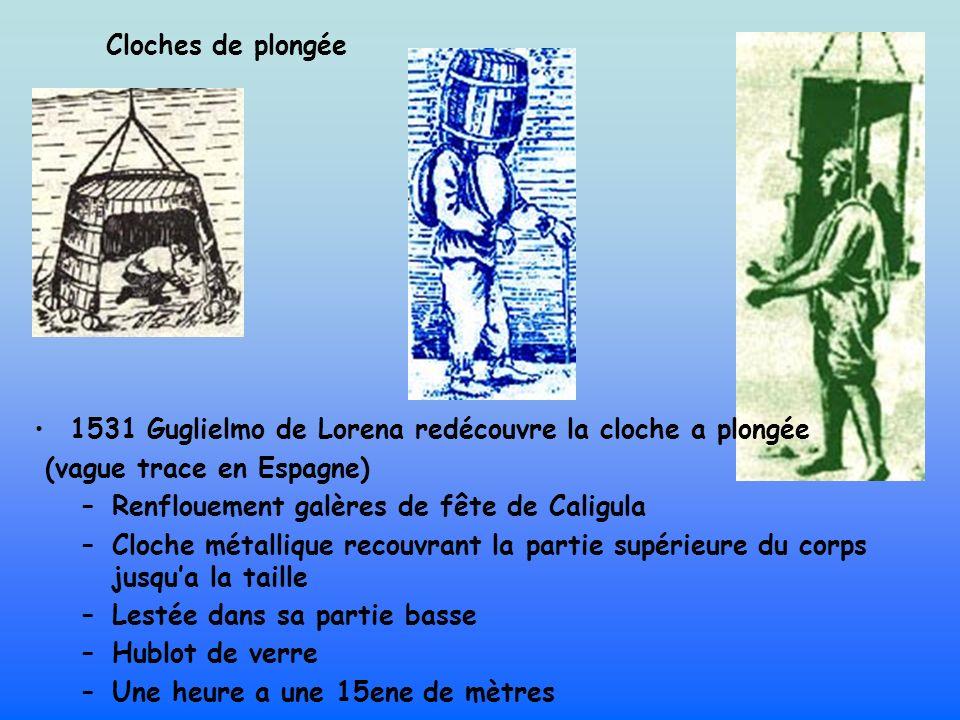 Cloches de plongée 1531 Guglielmo de Lorena redécouvre la cloche a plongée. (vague trace en Espagne)