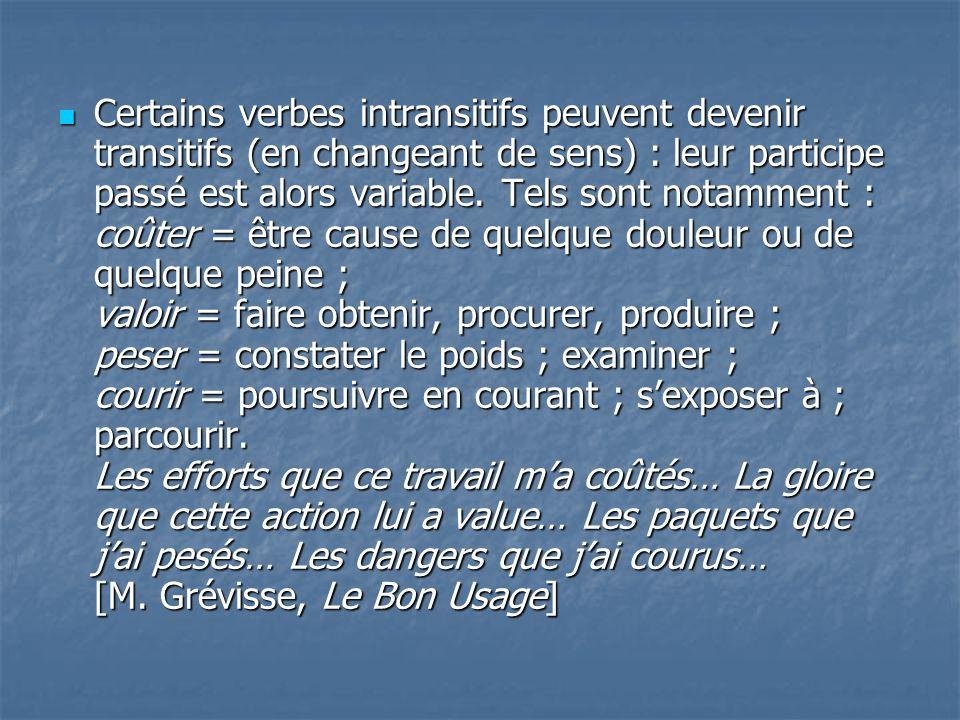 Certains verbes intransitifs peuvent devenir transitifs (en changeant de sens) : leur participe passé est alors variable.