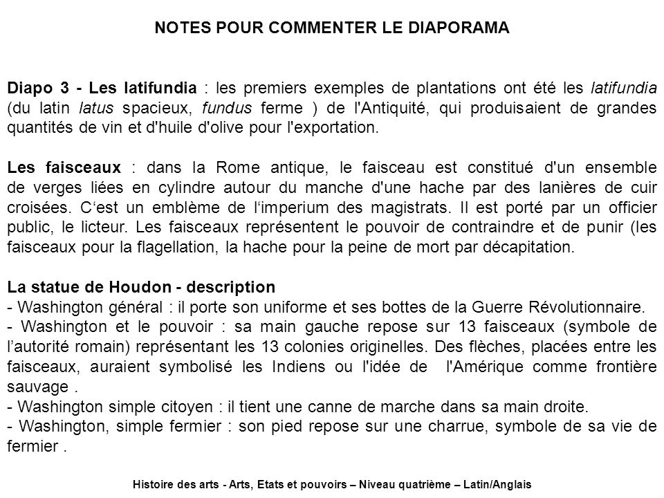 NOTES POUR COMMENTER LE DIAPORAMA
