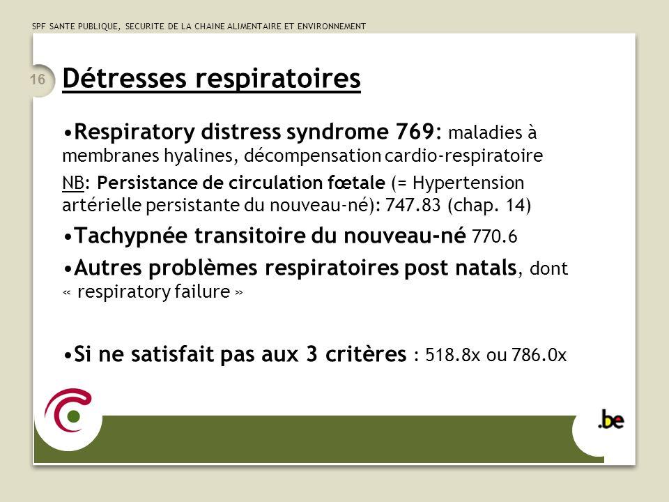 Détresses respiratoires