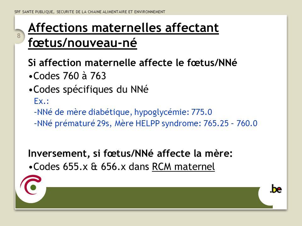 Affections maternelles affectant fœtus/nouveau-né