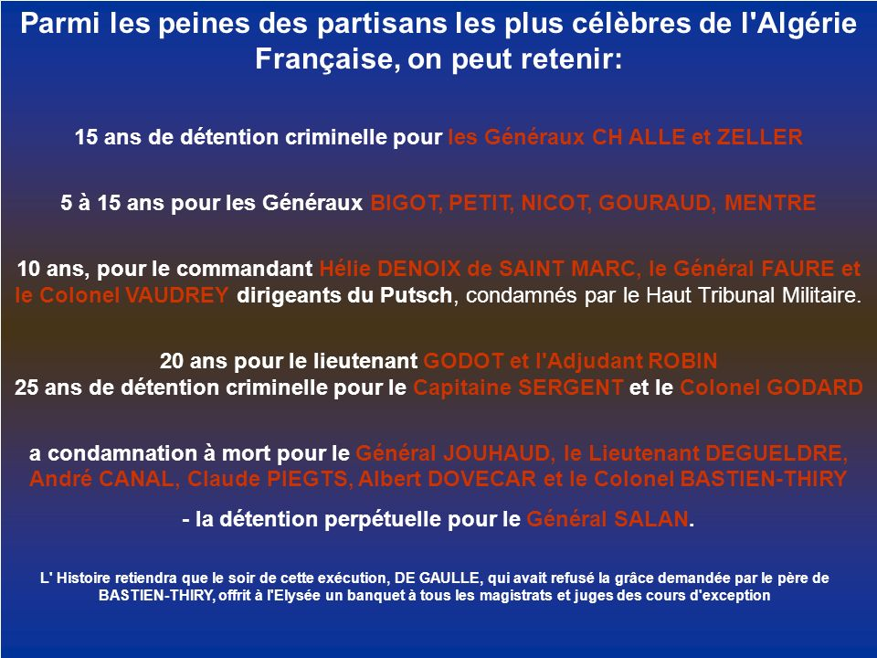 Parmi les peines des partisans les plus célèbres de l Algérie Française, on peut retenir: