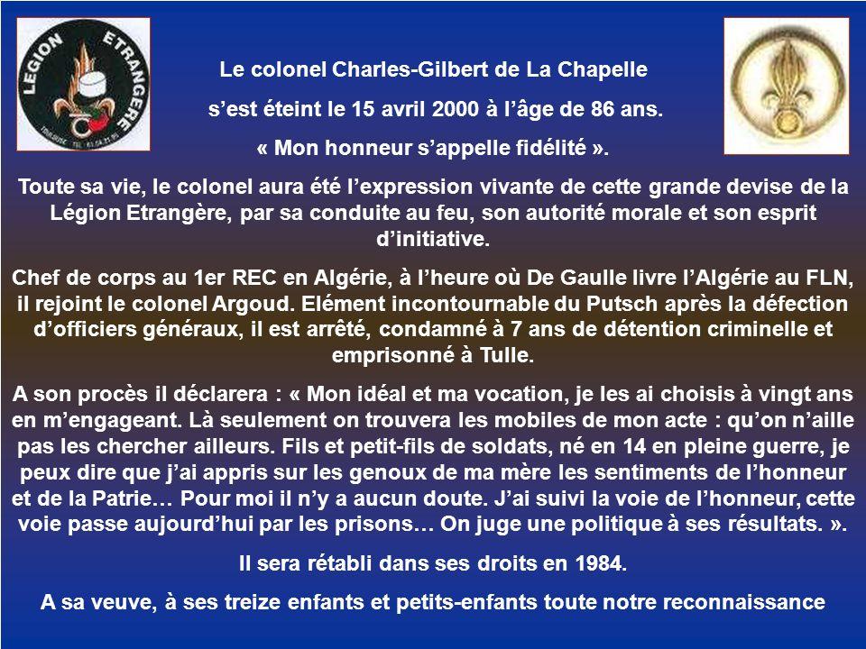 Le colonel Charles-Gilbert de La Chapelle