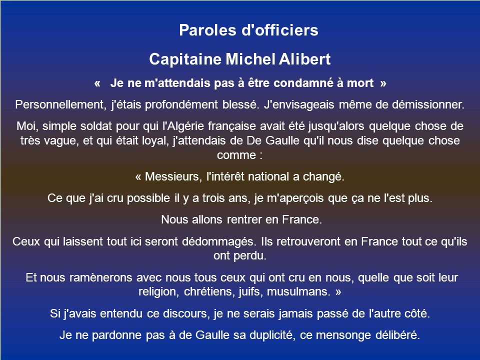 Paroles d officiers Capitaine Michel Alibert