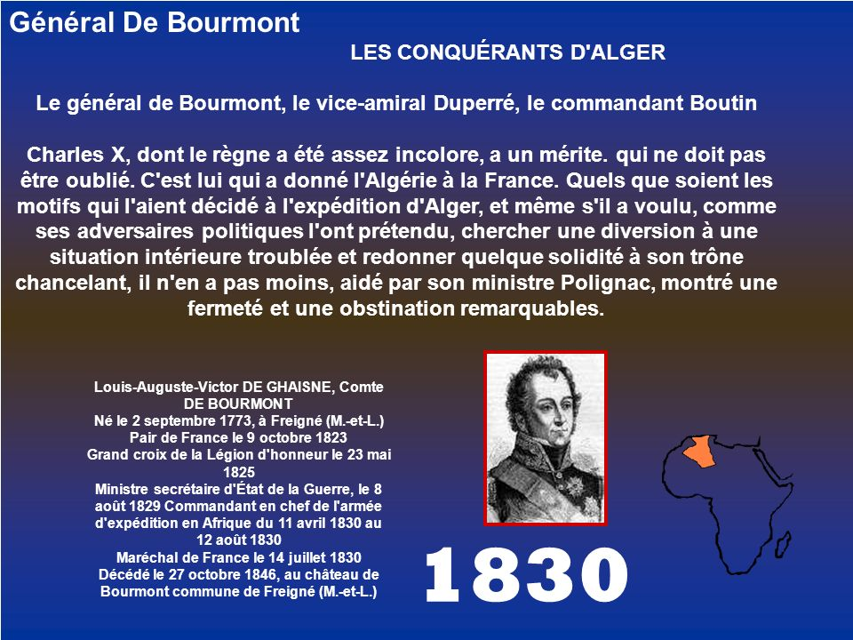 Le général de Bourmont, le vice-amiral Duperré, le commandant Boutin
