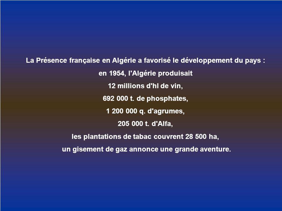 La Présence française en Algérie a favorisé le développement du pays :