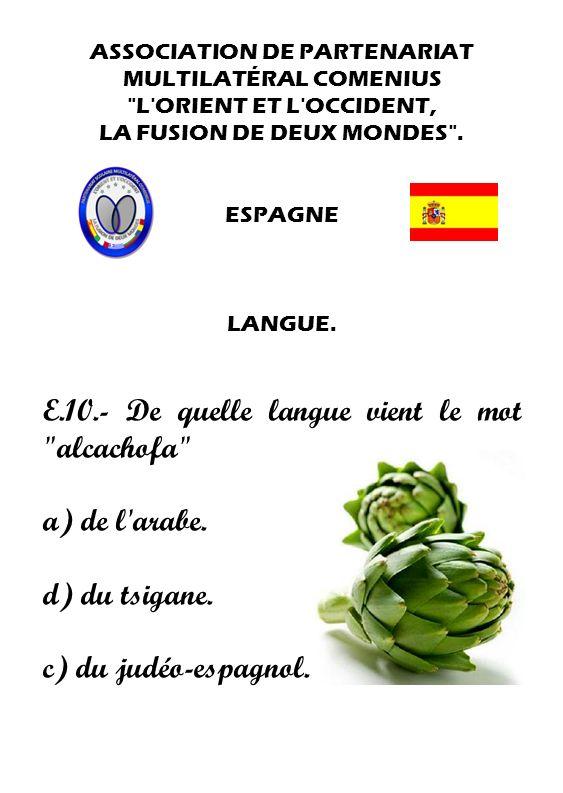 E.10.- De quelle langue vient le mot alcachofa