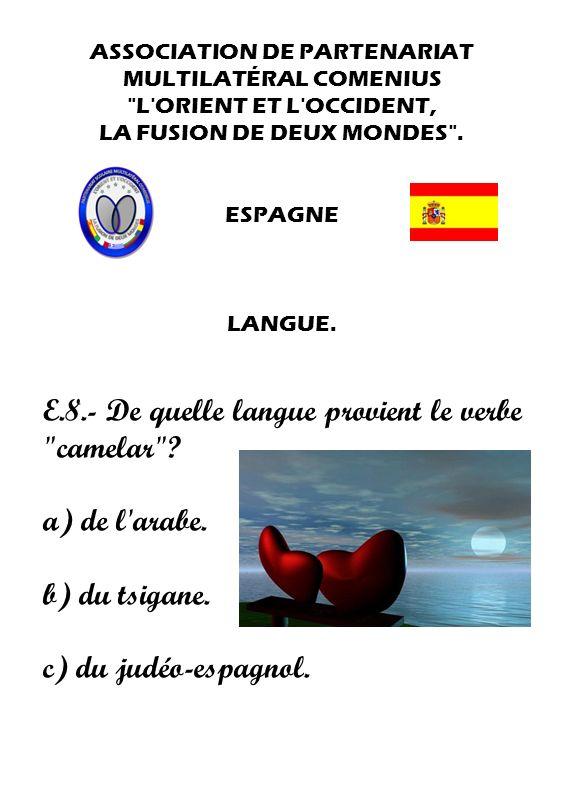 E.8.- De quelle langue provient le verbe camelar