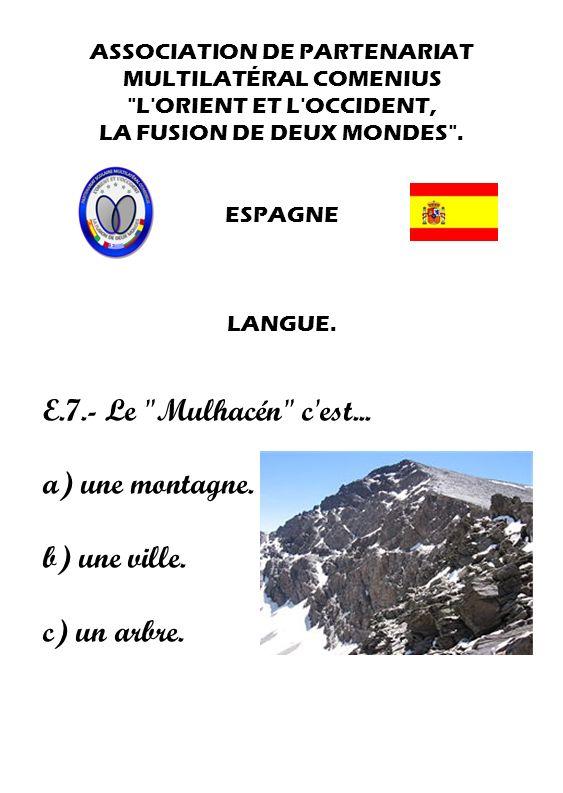 E.7.- Le Mulhacén c est... a) une montagne. b) une ville.