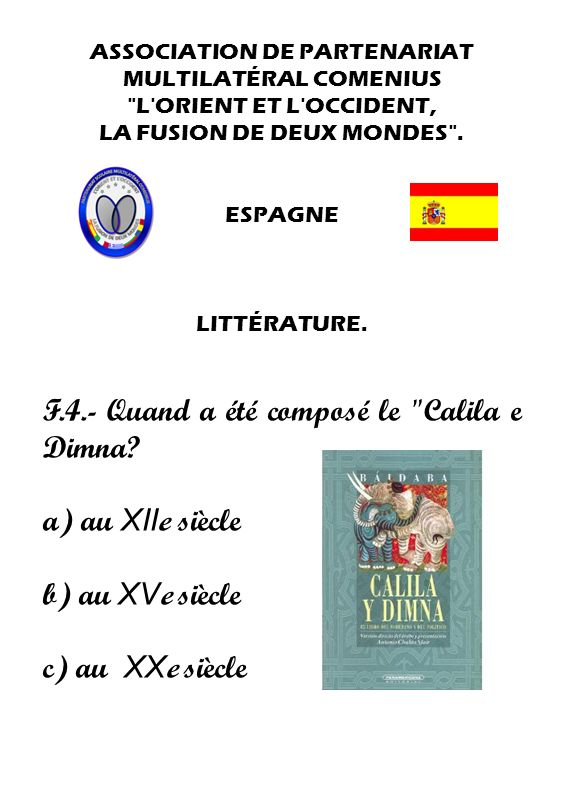 F.4.- Quand a été composé le Calila e Dimna